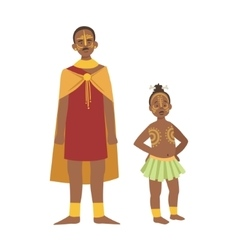 Chief and his son in skirt from african native vector