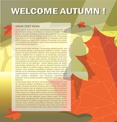 Welcome autumn card with orange and red oak leaves vector