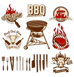 Set of design elements for bbq and grill labels vector