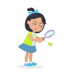 girl looking at butterfly through magnifying glass vector image