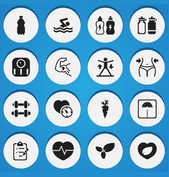 Set of 16 editable training icons includes vector
