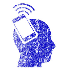 head smartphone plugin ring textured icon vector image