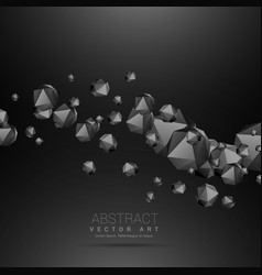 Dark polyhedrons flowing wave dark background vector