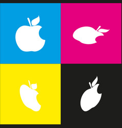 bite apple sign  white icon with isometric vector image