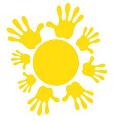 Sun icon symbol family friendship joy warm vector