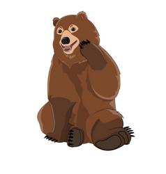Brown russian bear vector
