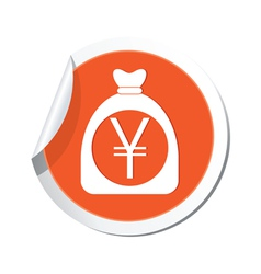 Moneybag yen icon orange label vector