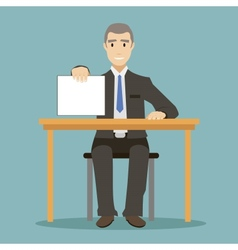 Flat design style businessman sitting at table vector
