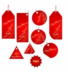 Red christmas label big set vector