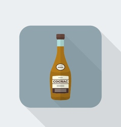 Flat style cognac bottle icon with shadow vector