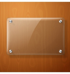 Glass plate for your signs on wooden vector