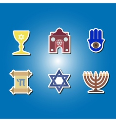 Color icons with jewish symbols vector