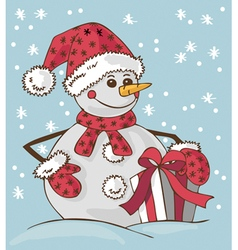Snowman and gift vector
