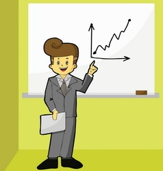 Businessman point to growth graph vector