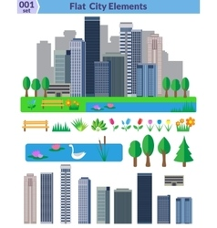 Flat city elements set vector