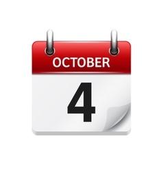 October 4 flat daily calendar icon date vector
