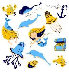 Marine set with cartoon mermaid vector