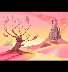 Fantasy landscape with castle vector
