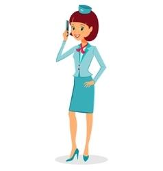 Cheerful cartoon flight attendant in uniform vector