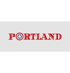Portland city name with flag colors vector