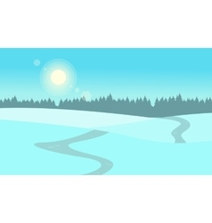 At winter hill landscape flat vector