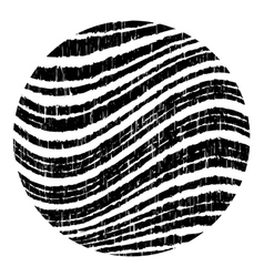 Black circle with wavy grunge stripes vector