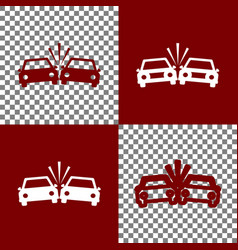 Crashed cars sign bordo and white icons vector