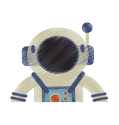 drawing astronaut suit helmet space vector image vector image