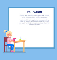 Education poster with profile of smiling girl vector