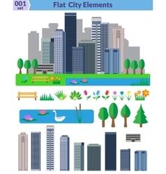 Flat city elements set vector image