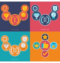 gamification icons in flat style vector image vector image