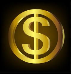 Golden dollar coin vector