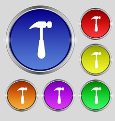 Hammer icon sign Round symbol on bright colourful vector image vector image