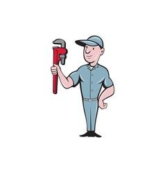 Handyman monkey wrench standing cartoon vector