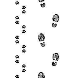 human feet and dog paws vector image vector image
