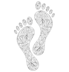 Human footprints on white background vector