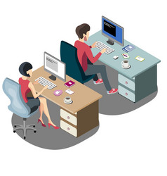 Isometric people businessmen and business woman vector