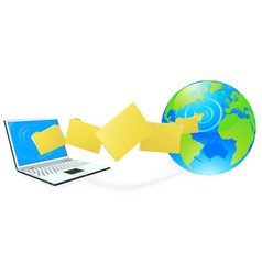 laptop computer uploading or downloading files vector image