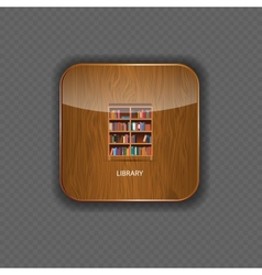 Library wood application icons vector