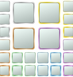 Light silver blank square metal button set vector