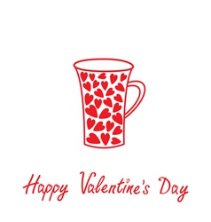 Love mug with hearts Happy Valentines Day vector image