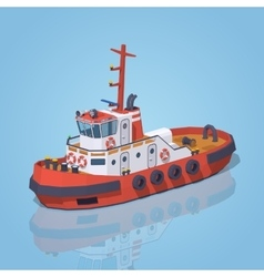 Low poly red and white tugboat vector image vector image