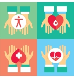 Medical donation Hands give heart to another vector image vector image