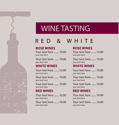 menu for wine tasting patterned bottle vector image
