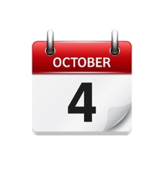 October 4 flat daily calendar icon date vector