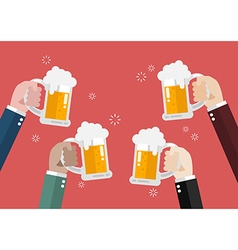 People clinking beer glasses vector