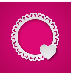 pink card with a paper frame and a heart vector image vector image