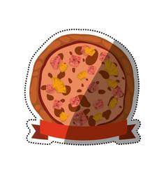 Pizza pineapple ham cheese vector