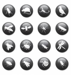 Rodent and pest buttons vector