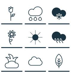 Set of 9 landscape icons includes cloud sunshine vector